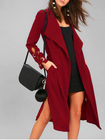 Buy Turn Down Collar Side Slit Wrap Coat