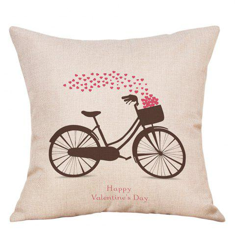 Store Bike Hearts Print Valentine's Day Decorative Linen Pillowcase