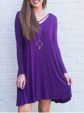 Chic Long Sleeve Cross Strap Tunic Dress