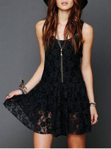 Store Sleeveless Scoop Neck Lace Dress