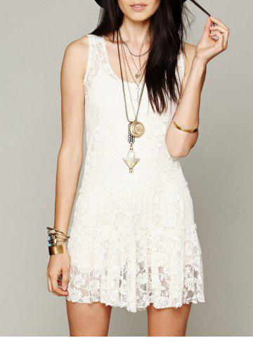 Fancy Sleeveless Scoop Neck Lace Dress