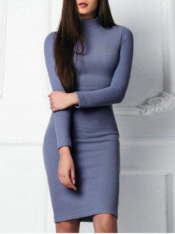 Chic Mock Neck Bodycon Sweater Dress