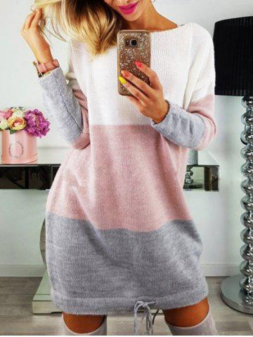 Sale Long Sleeve Color Lump Sweater Dress