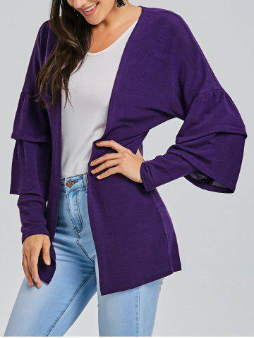 Affordable Open Front Bell Sleeve Tunic Cardigan