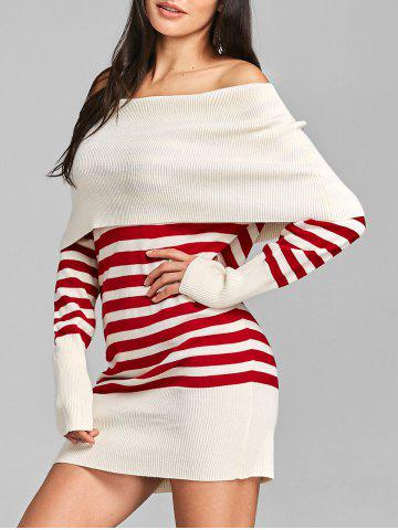 Latest Striped Off The Shoulder Longline Sweater