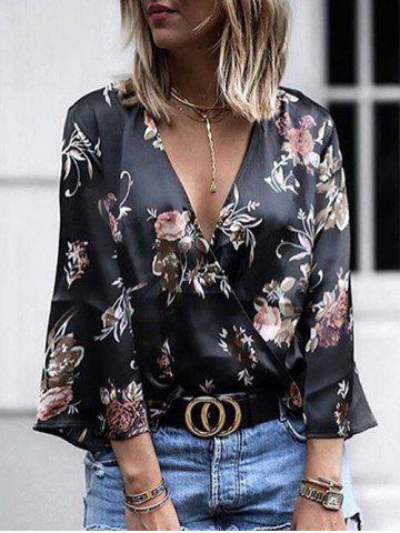 Shop Plunging Neck Floral Print Wrap Shirt