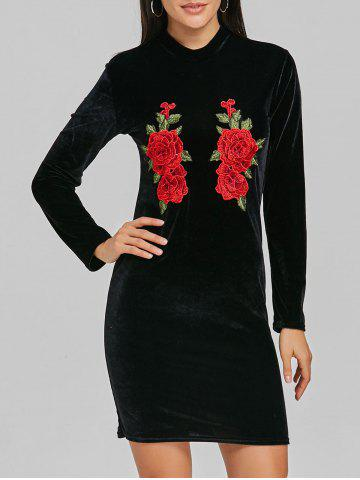 Trendy High Neck Velvet Embroidered Mini Dress