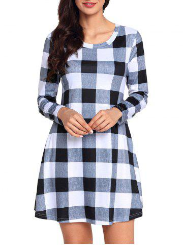 Online Plaid Long Sleeve A-line Dress