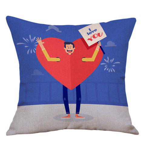 Outfits A Man Showing Love Print Valentine's Day Decorative Linen Pillowcase
