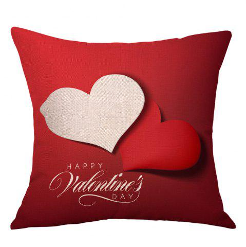 Affordable Hearts Greeting Print Valentine's Day Decorative Linen Pillowcase