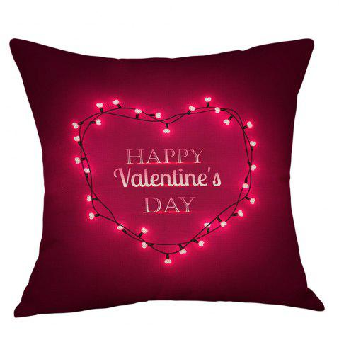 New String Light Heart Print Valentine's Day Decorative Linen Pillowcase