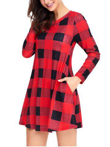 Sale Plaid Long Sleeve A-line Dress