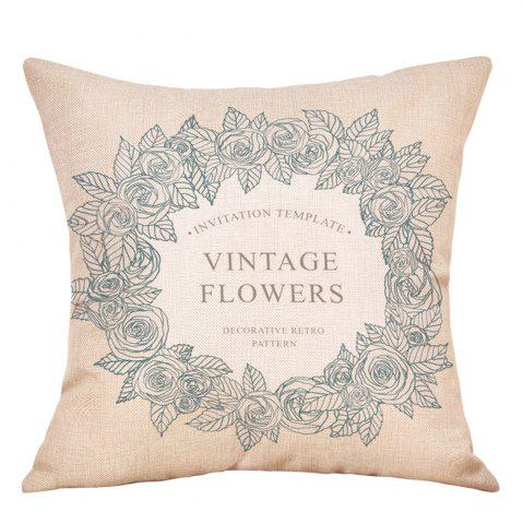 Chic Wreath Print Valentine's Day Decorative Linen Pillowcase