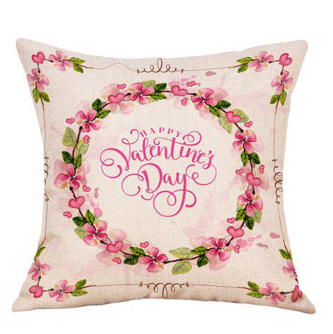 Shop Floral Print Valentine's Day Decorative Linen Pillowcase