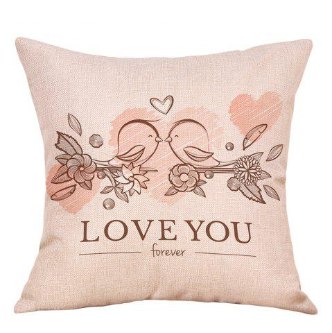 Store Valentine's Day Birds Lovers Print Decorative Linen Pillowcase