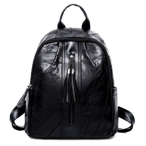 Shop PU Leather Tassel Side Pockets Backpack