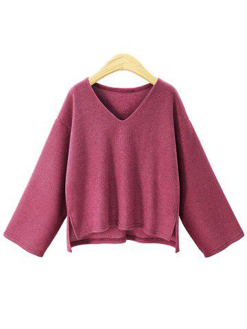 Hot Plus Size V Neck High Low Sweater
