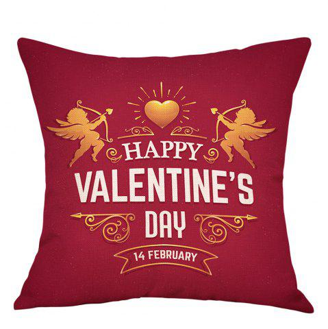 Best Valentine's Day Cupid Print Decorative Linen Pillowcase