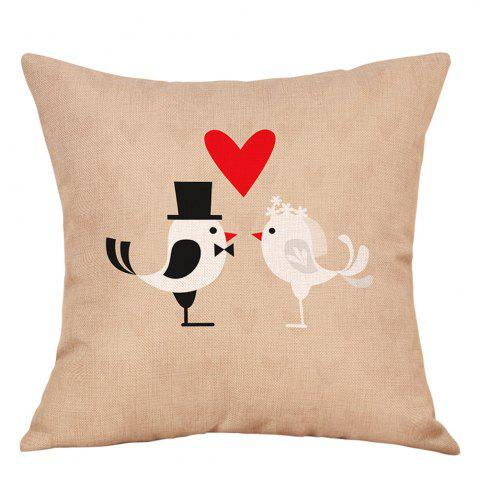 Affordable Birds Couple Print Valentines Day Decorative Linen Pillowcase