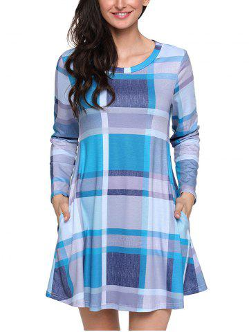 Buy Plaid Long Sleeve A-line Dress