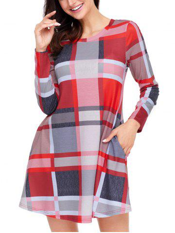 Cheap Plaid Long Sleeve A-line Dress