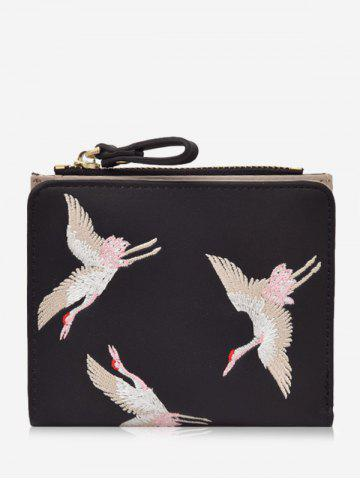 Fashion Bi Fold Birds Embroidery PU Leather Wallet