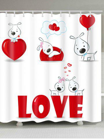 Sale Valentine's Day Love Heart Puppies Printed Shower Curtain