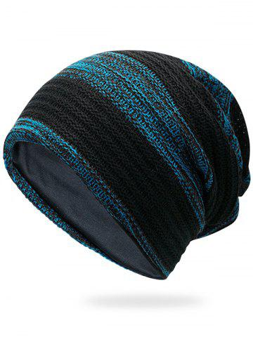 Buy Outdoor Striped Pattern Color Splice Crochet Knitted Beanie