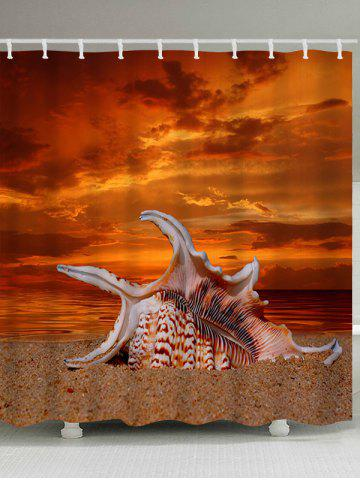 Affordable Beach Giant Shell Print Waterproof Polyester Shower Curtain