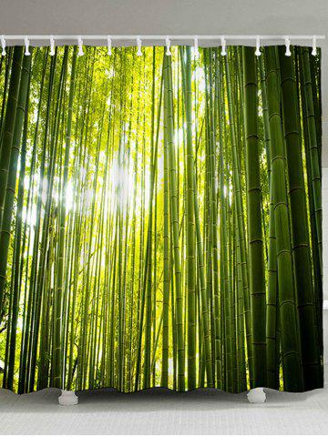 Online Bamboo Forest Print Waterproof Fabric Bath Curtain