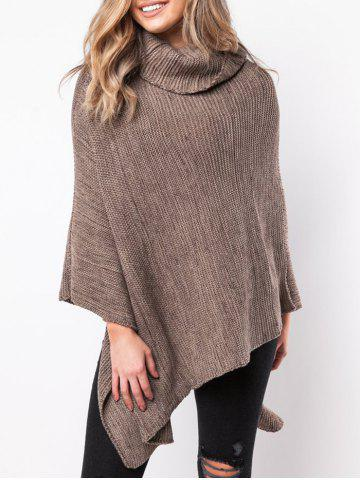 Chic Turtleneck Asymmetrical Poncho Sweater