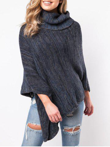 Latest Turtleneck Asymmetrical Poncho Sweater