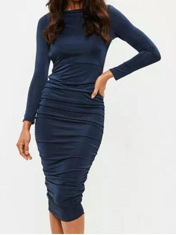 Unique Long Sleeve Backless Ruched Dress