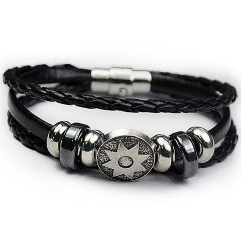 Best PU Leather Rope Braid Engraved Sun Bracelet