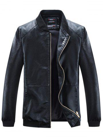 Buttons Embellished PU Leather Zip Up Jacket