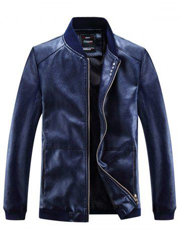 Fancy Buttons Embellished PU Leather Zip Up Jacket