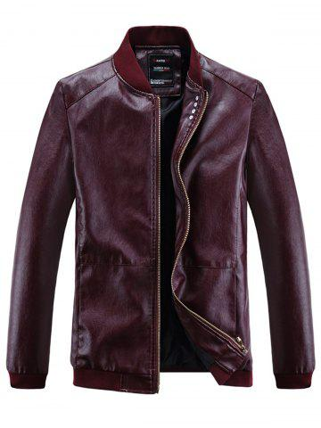 Outfits Buttons Embellished PU Leather Zip Up Jacket