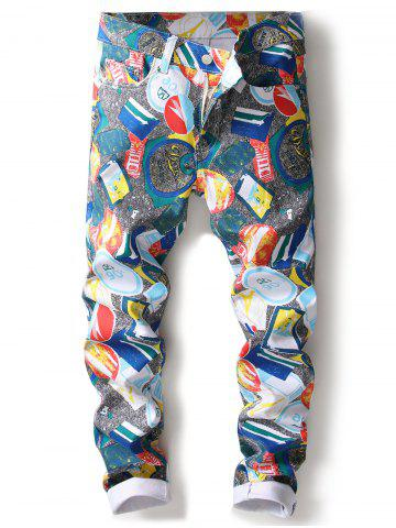 Cheap Straight Leg Painting Print Jeans