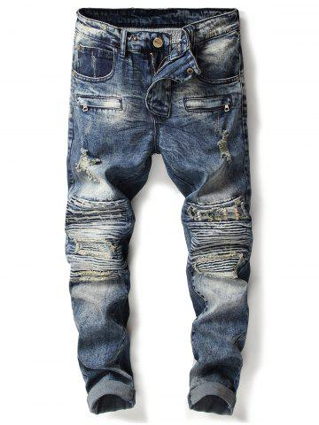 Sale Zipper Accordion Pleat Ripped Jeans