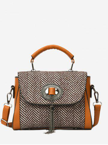 Store Zigzag Pattern Tassels Tweed Handbag