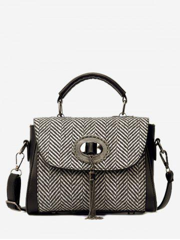 Discount Zigzag Pattern Tassels Tweed Handbag