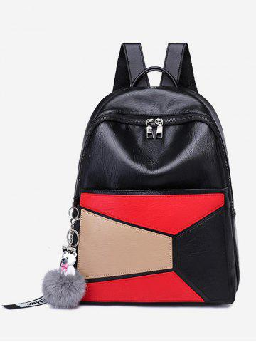 Outfits Pompom Color Block Geometric Backpack