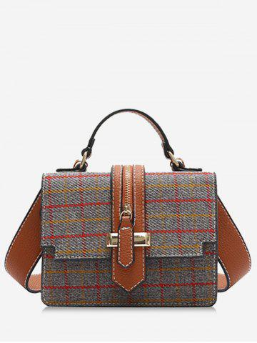 Latest Zip Strap Checkered Tweed Crossbody Bag