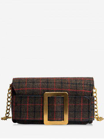Best Color Block Plaid Buckle Strap Crossbody Bag