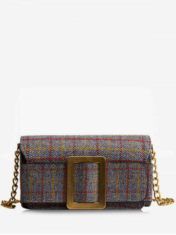 Shops Color Block Plaid Buckle Strap Crossbody Bag