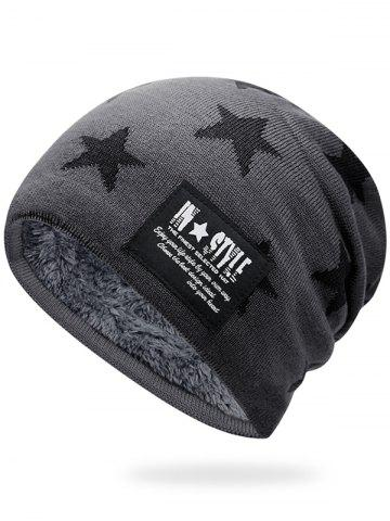 Buy Outdoor Star Pattern Decorated Thicken Knitted Beanie