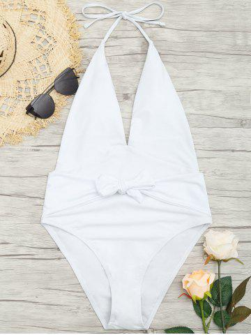 Cheap Low Back Plunge Front Tied Swimsuit