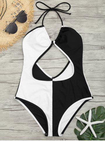 Latest Cut Out Two Tone Backless Swimsuit