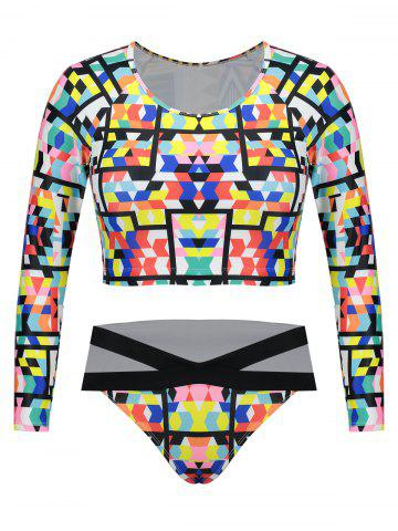 Fancy Plus Size Long Sleeves Printed Swimsuit