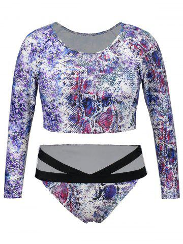 Discount Long Sleeve Snake Print Plus Size Swimsuit